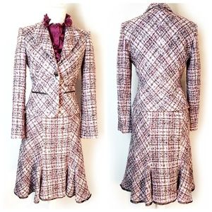 Anne Klein tweed skirt and blazer suit set, sz 4